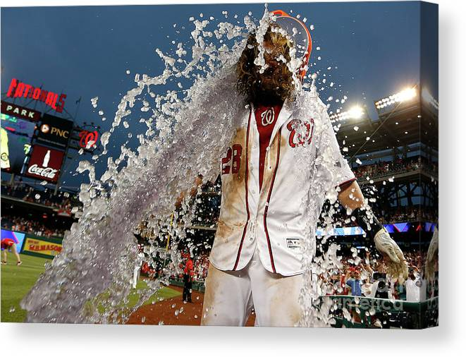 Three Quarter Length Canvas Print featuring the photograph Wilson Ramos and Jayson Werth by Matt Hazlett