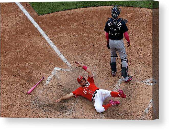 People Canvas Print featuring the photograph Wilson Ramos and Ryan Zimmerman by Patrick Smith