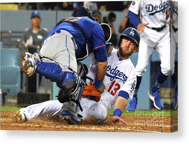 People Canvas Print featuring the photograph Wilson Ramos, Justin Turner, and Max Muncy by Jayne Kamin-oncea