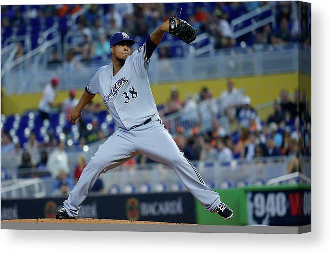 American League Baseball Canvas Print featuring the photograph Wily Peralta by Chris Trotman
