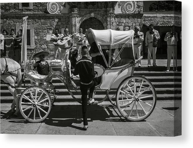 Escaramuza Canvas Print featuring the photograph Wooden Carriage in Mexico by Dane Strom