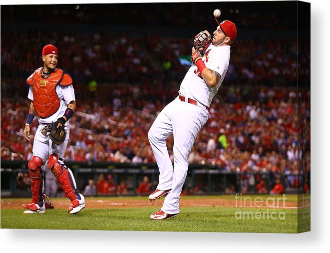 St. Louis Cardinals Canvas Print featuring the photograph Yadier Molina and Matt Adams by Dilip Vishwanat