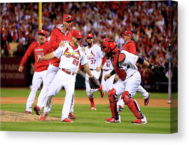 St. Louis Cardinals Canvas Print featuring the photograph Yadier Molina and Trevor Rosenthal by Jamie Squire