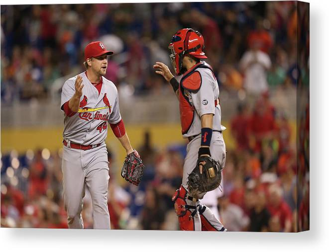 St. Louis Cardinals Canvas Print featuring the photograph Yadier Molina and Trevor Rosenthal by Rob Foldy