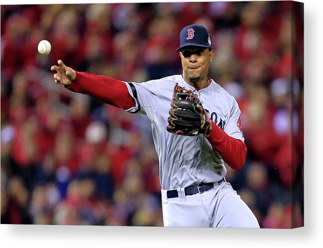 American League Baseball Canvas Print featuring the photograph Yadier Molina and Xander Bogaerts by Dilip Vishwanat