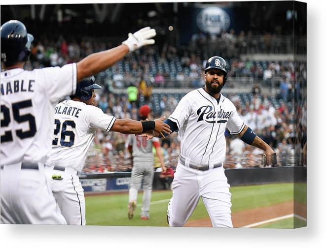 People Canvas Print featuring the photograph Yangervis Solarte, Will Venable, and Matt Kemp by Denis Poroy