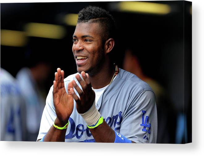 Scoring Canvas Print featuring the photograph Yasiel Puig by Justin Edmonds