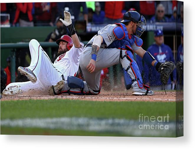 Game Two Canvas Print featuring the photograph Yasmani Grandal, Daniel Murphy, and Jayson Werth by Patrick Smith
