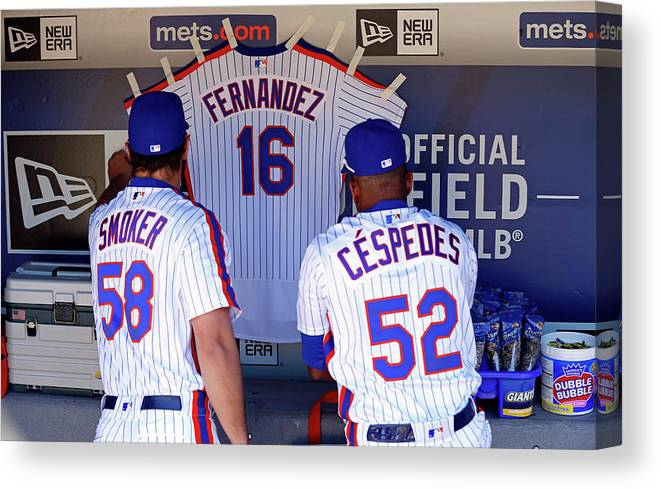 Hanging Canvas Print featuring the photograph Yoenis Cespedes by Adam Hunger