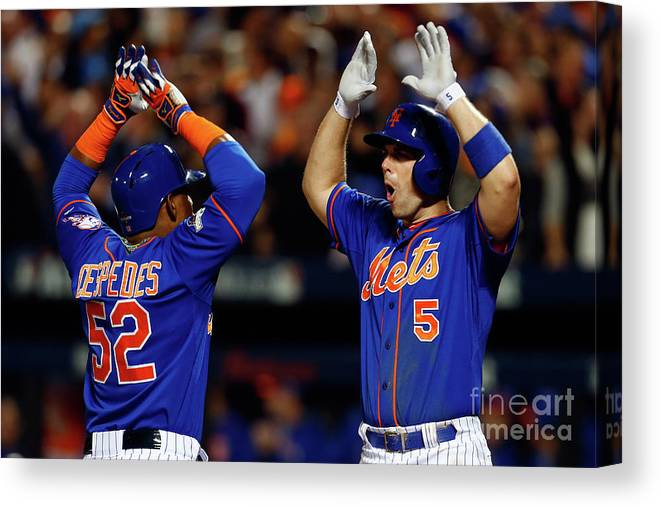 Yoenis Cespedes Canvas Print featuring the photograph Yoenis Cespedes, Alex Wood, and David Wright by Mike Stobe