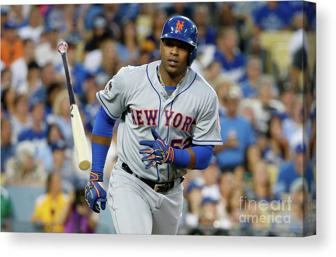 Game Two Canvas Print featuring the photograph Yoenis Cespedes by Sean M. Haffey