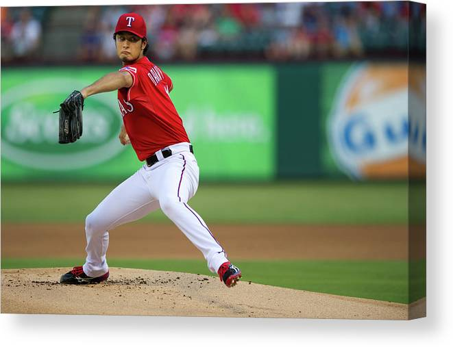American League Baseball Canvas Print featuring the photograph Yu Darvish by Cooper Neill