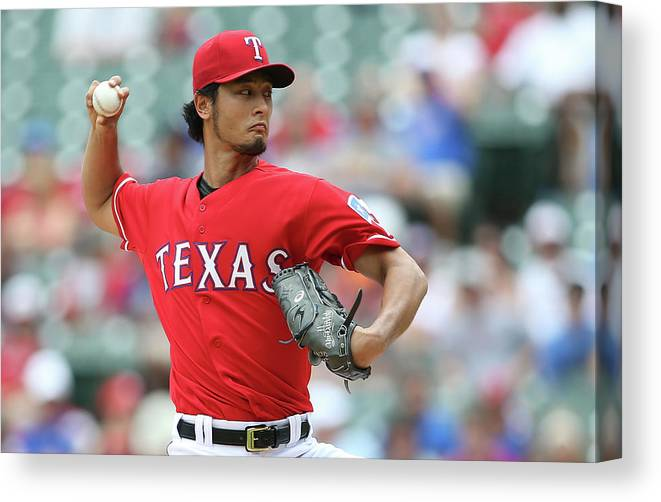 American League Baseball Canvas Print featuring the photograph Yu Darvish by Rick Yeatts