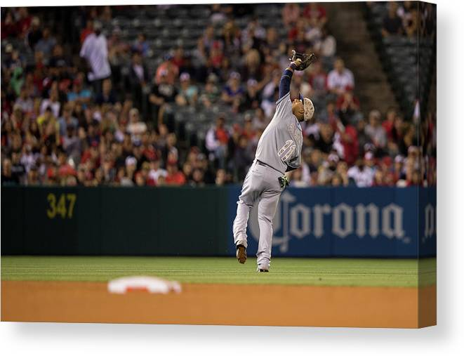 American League Baseball Canvas Print featuring the photograph Yunel Escobar by Paul Spinelli