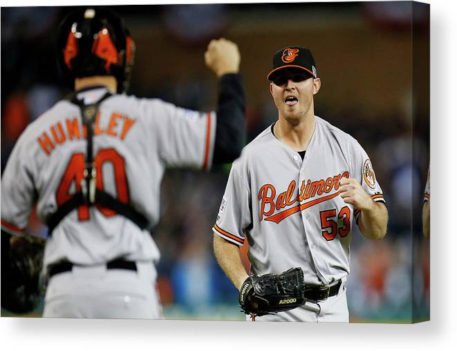 American League Baseball Canvas Print featuring the photograph Zach Britton and Nick Hundley by Gregory Shamus