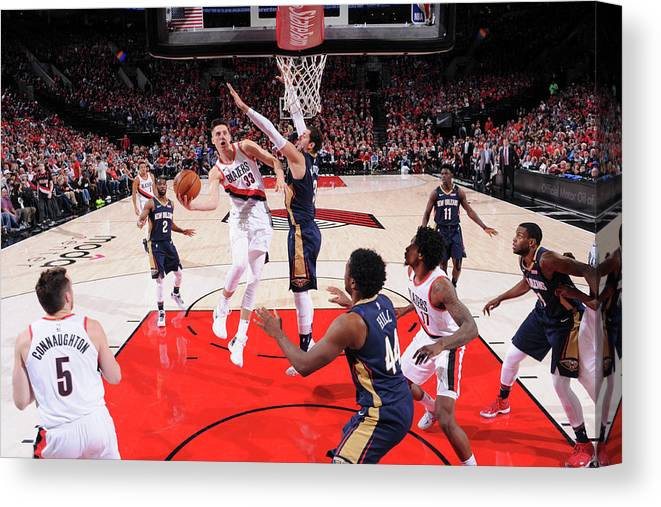 Playoffs Canvas Print featuring the photograph Zach Collins by Cameron Browne