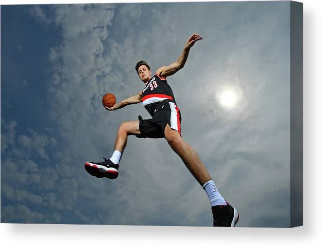Nba Pro Basketball Canvas Print featuring the photograph Zach Collins by Jesse D. Garrabrant