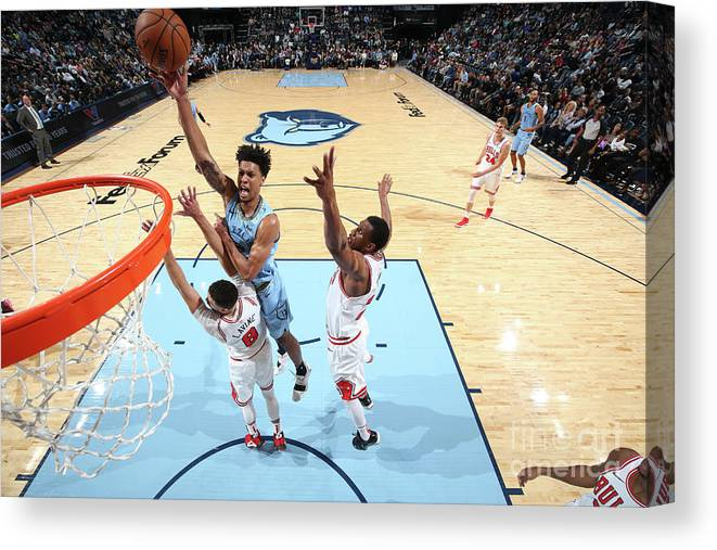 Chicago Bulls Canvas Print featuring the photograph Zach Lavine and Thaddeus Young by Joe Murphy