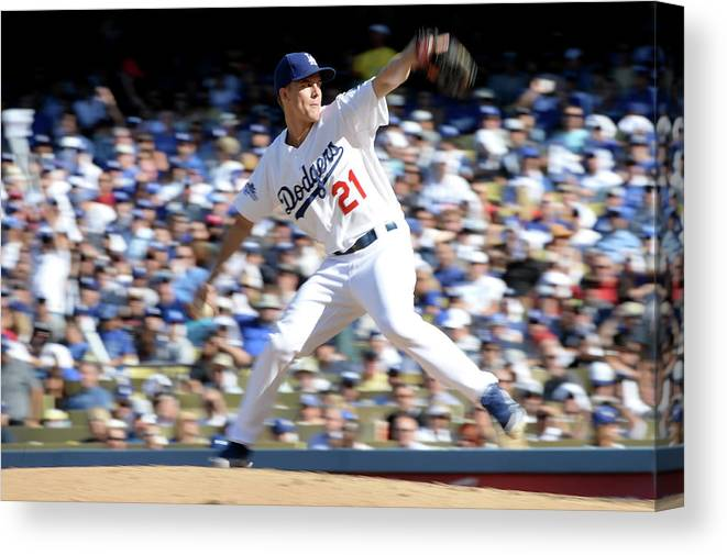 American League Baseball Canvas Print featuring the photograph Zack Greinke by Harry How