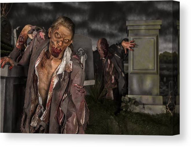Wound Canvas Print featuring the photograph Zombies in the graveyard by Inhauscreative