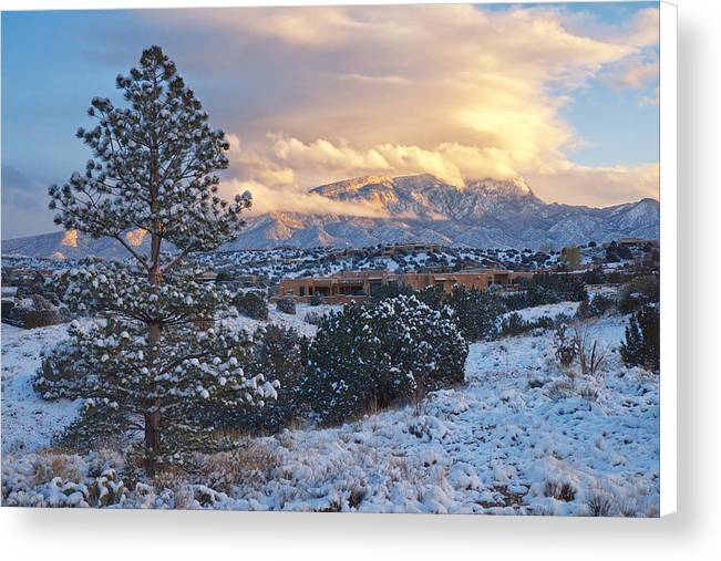 Sandia Mountains with Snow at Sunset by Mary Lee Dereske