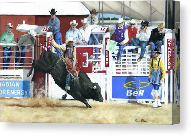 Rodeo Canvas Print featuring the pastel The Black Bull by Karen Elkan