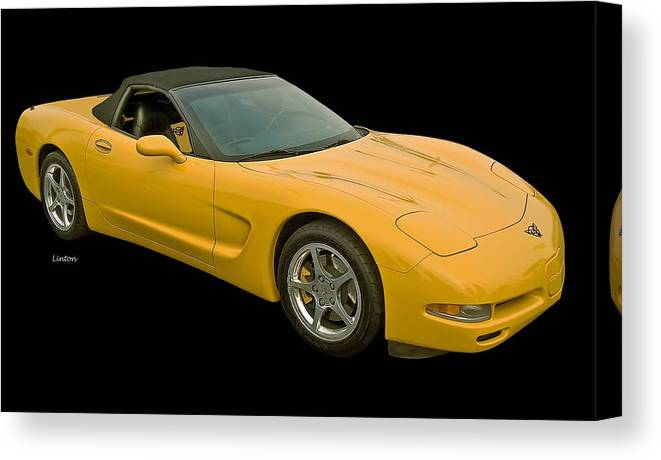 Corvette Canvas Print featuring the photograph Yellow Corvette 2 by Larry Linton