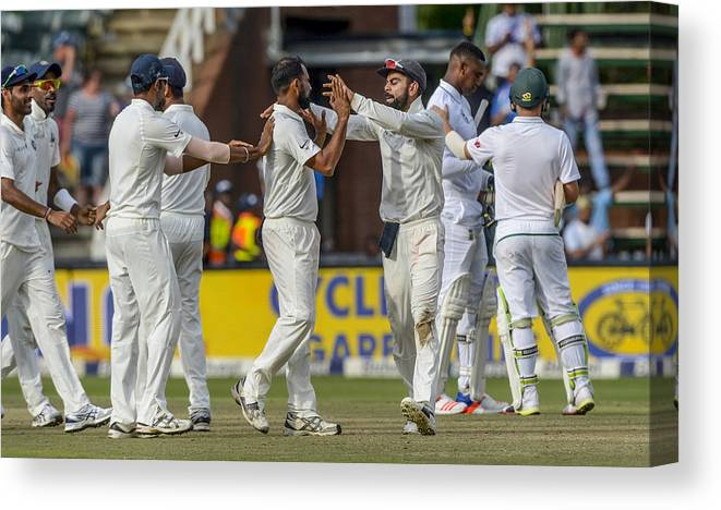 International Match Canvas Print featuring the photograph 3rd Sunfoil Test: South Africa v India, Day 4 by Gallo Images