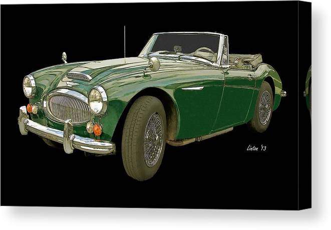Austin Healey 3000 Canvas Print featuring the digital art British Racing Green by Larry Linton