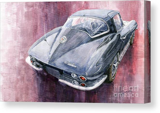 Watercolor Canvas Print featuring the painting Chevrolet Corvette Sting Ray 1965 by Yuriy Shevchuk