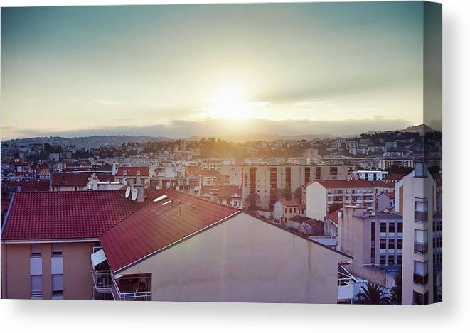French Riviera Canvas Print featuring the photograph Elevated View Of City, Nice, France by Gu