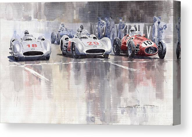 Watercolour Canvas Print featuring the painting French GP 1954 MB W 196 Meserati 250 F by Yuriy Shevchuk