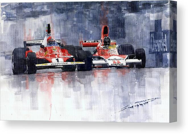 Watercolor Canvas Print featuring the painting Lauda vs Hunt Brazilian GP 1976 by Yuriy Shevchuk