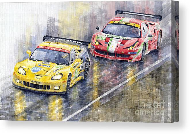 Watercolor Canvas Print featuring the painting 2011 Le Mans GTE Pro Chevrolette Corvette C6R vs Ferrari 458 Italia by Yuriy Shevchuk