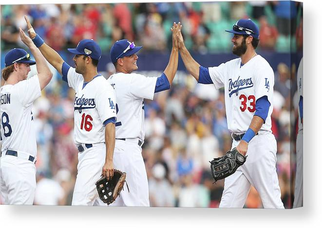Celebration Canvas Print featuring the photograph Los Angeles Dodgers V Arizona by Mark Metcalfe