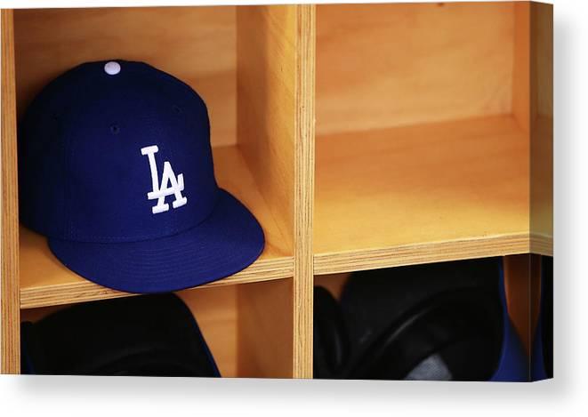 Season Canvas Print featuring the photograph Los Angeles Dodgers V Arizona by Mark Nolan