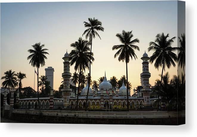 Clear Sky Canvas Print featuring the photograph Masjid Jamek - Kuala Lumpur by @ Didier Marti
