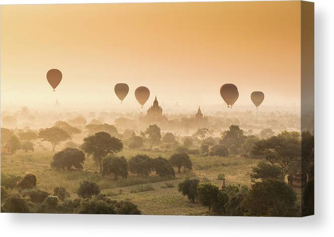 Tranquility Canvas Print featuring the photograph Myanmar Burma - Balloons Flying Over by 117 Imagery