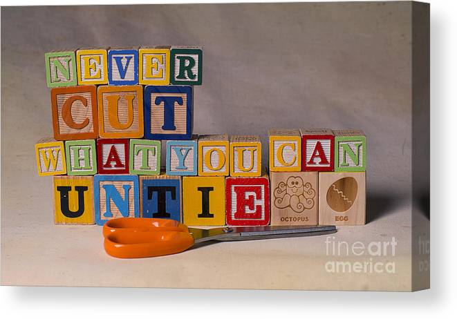 Never Cut What You Can Untie Canvas Print featuring the photograph Never Cut What You Can Untie by Art Whitton