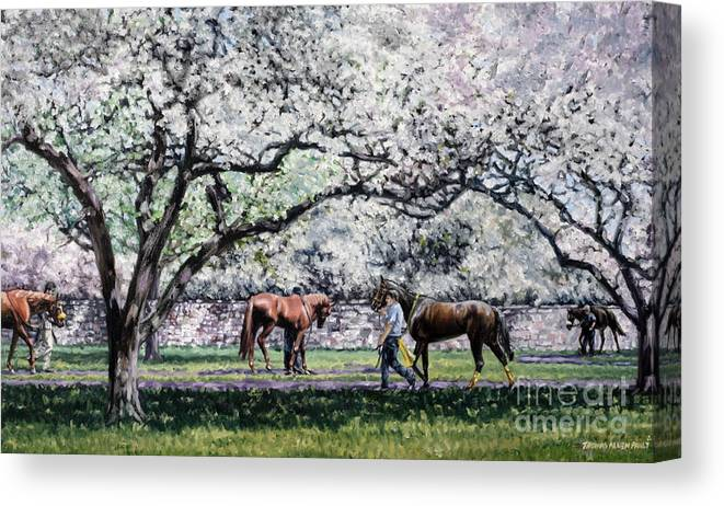 Derby Canvas Print featuring the painting Springtime at Keeneland by Thomas Allen Pauly