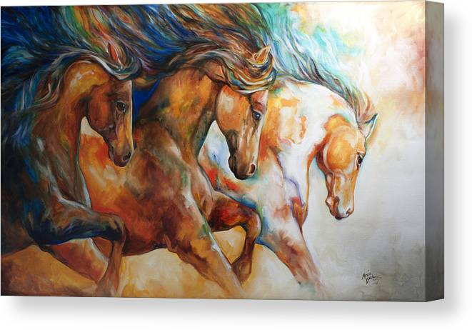 Horse Canvas Print featuring the painting Wild Trio Run by Marcia Baldwin