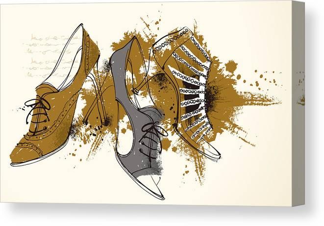 Horizontal Canvas Print featuring the digital art Feminine Shoes by Eastnine Inc.