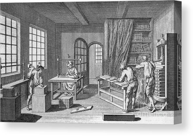 1763 Canvas Print featuring the photograph Bookbinder, 1763 by Granger