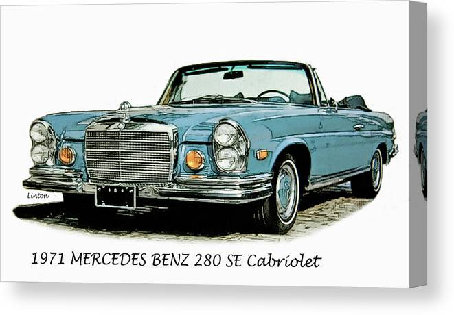Mercedes Benz Canvas Print featuring the digital art Cabriolet by Larry Linton