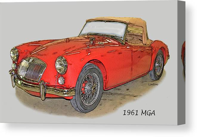 Mga Canvas Print featuring the digital art M G A by Larry Linton