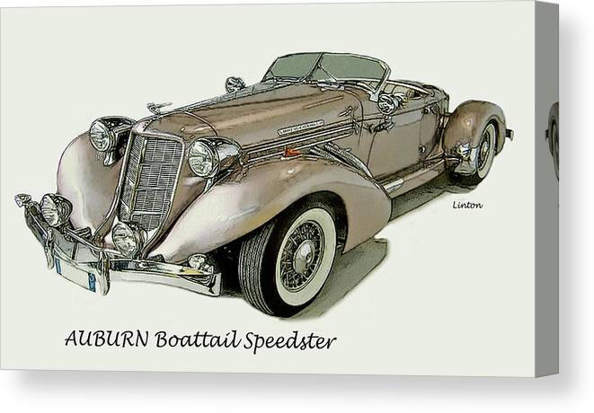 Auburn Boattail Speedster Canvas Print featuring the digital art Speedster by Larry Linton