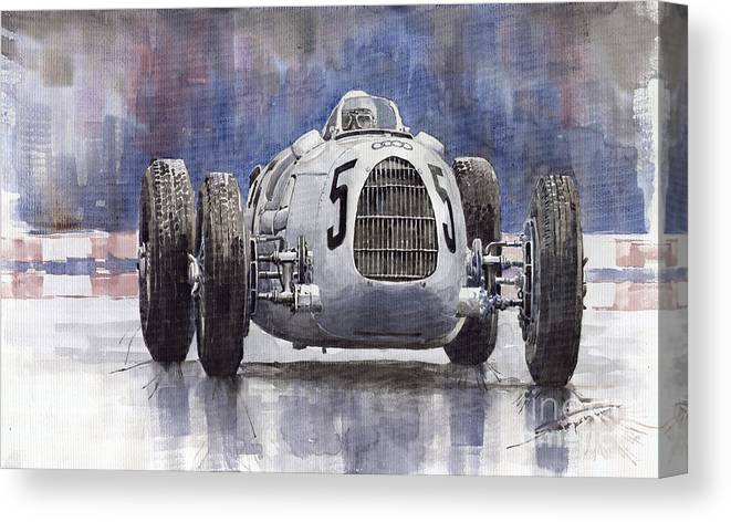 Auto Canvas Print featuring the painting Auto-Union Type C 1936 by Yuriy Shevchuk