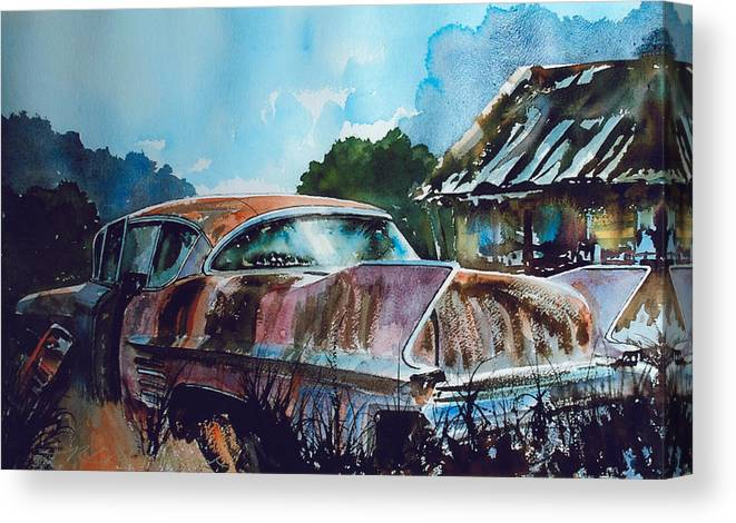 Caddy Canvas Print featuring the painting Caddy Subsiding by Ron Morrison