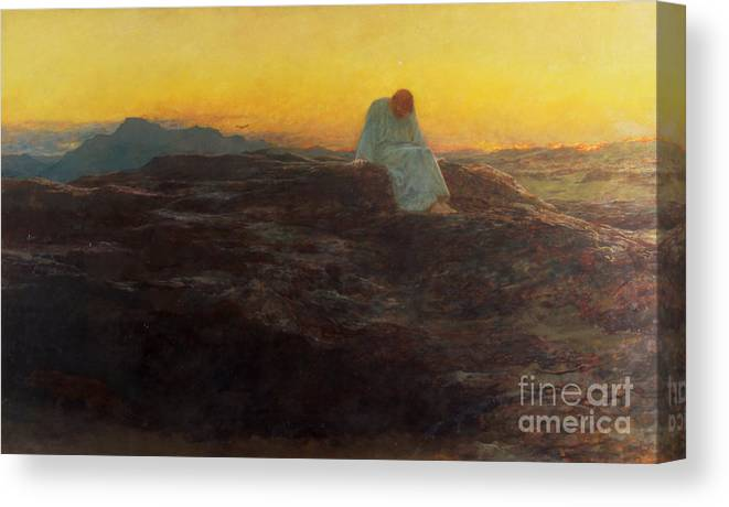 Christ In The Wilderness Canvas Print featuring the painting Christ in the Wilderness by Briton Riviere