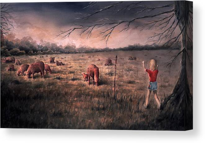 Landscape Canvas Print featuring the painting A childhood by William Russell Nowicki